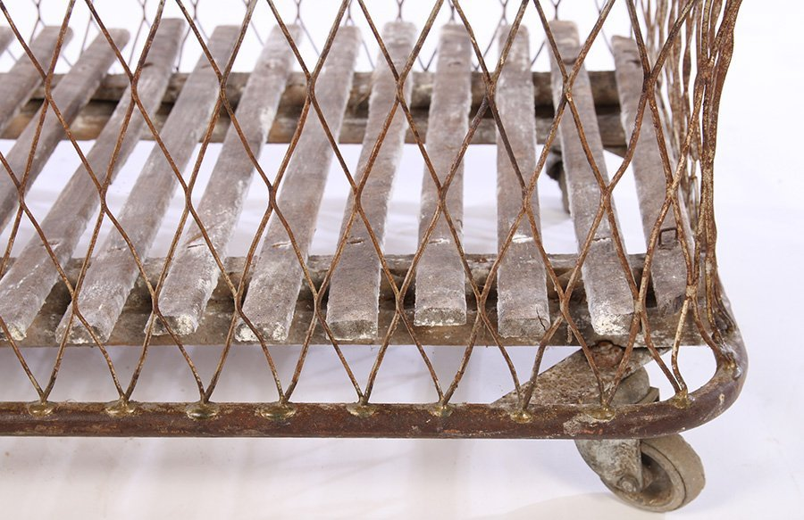 FRENCH WROUGHT IRON BREAD CART SLAT WOOD 1900 - 5