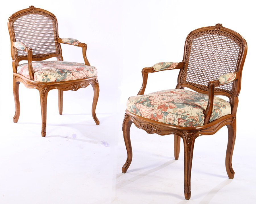 PAIR LOUIS XV CARVED ARM CHAIRS UPHOLSTERED