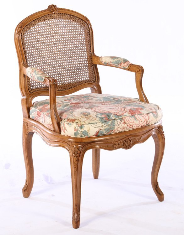 PAIR LOUIS XV CARVED ARM CHAIRS UPHOLSTERED - 2