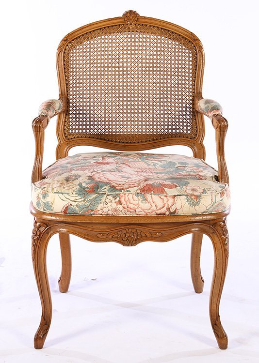 PAIR LOUIS XV CARVED ARM CHAIRS UPHOLSTERED - 3