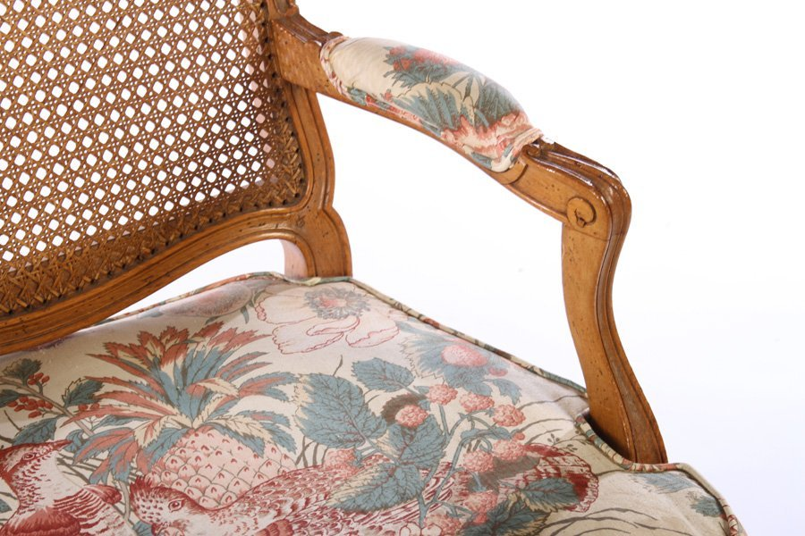 PAIR LOUIS XV CARVED ARM CHAIRS UPHOLSTERED - 5