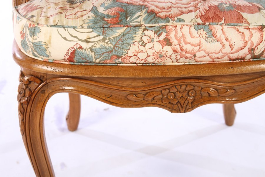 PAIR LOUIS XV CARVED ARM CHAIRS UPHOLSTERED - 6