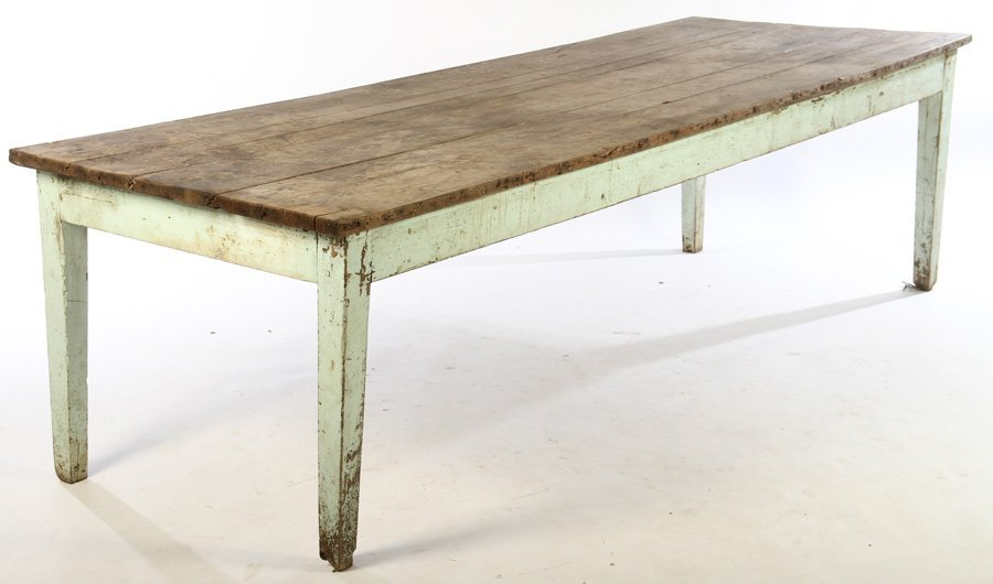 19TH CENTURY FRENCH HARVEST TABLE PLANK TOP BLUE
