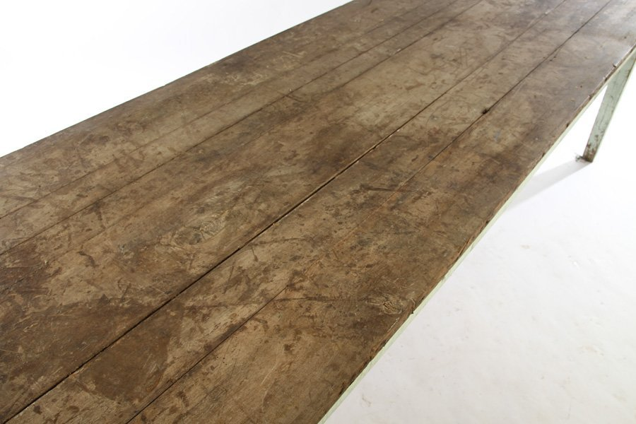 19TH CENTURY FRENCH HARVEST TABLE PLANK TOP BLUE - 2