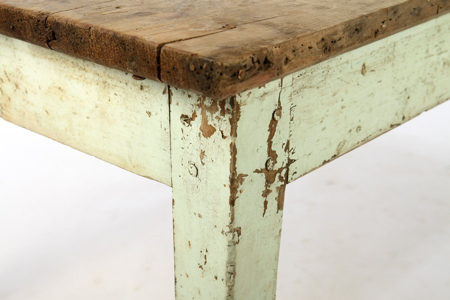 19TH CENTURY FRENCH HARVEST TABLE PLANK TOP BLUE - 3