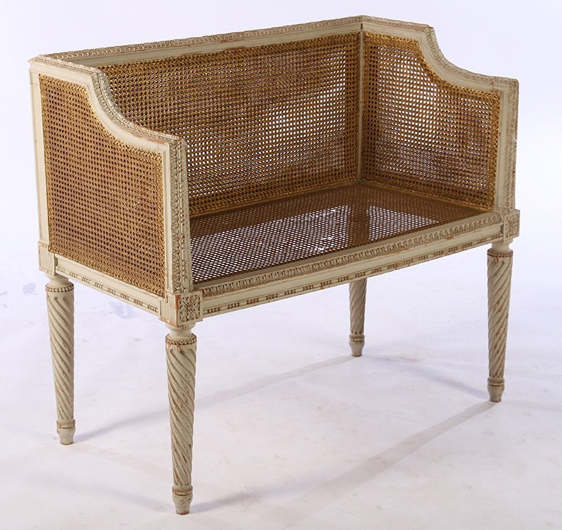 LOUIS XVI CARVED PAINTED SETTEE 1940