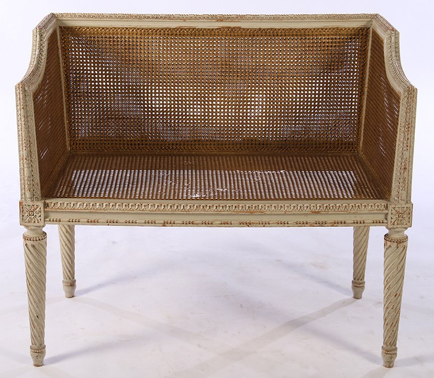 LOUIS XVI CARVED PAINTED SETTEE 1940 - 2