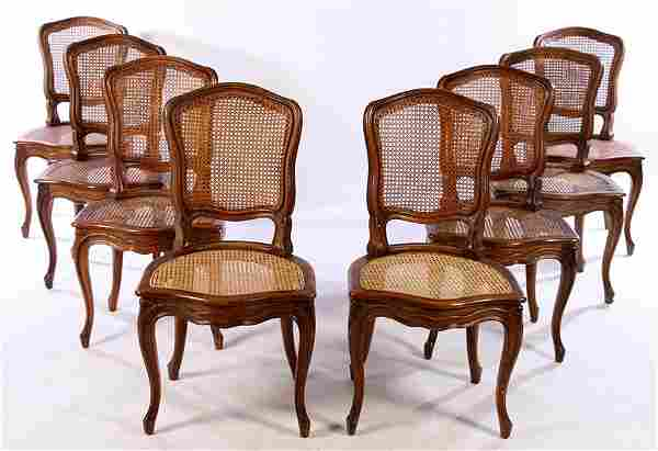 SET OF EIGHT FRENCH CARVED LOUIS XVI CHAIRS