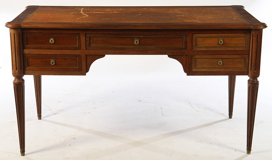 LOUIS XVI DESK INSET LEATHER TOP 5 DRAWERS