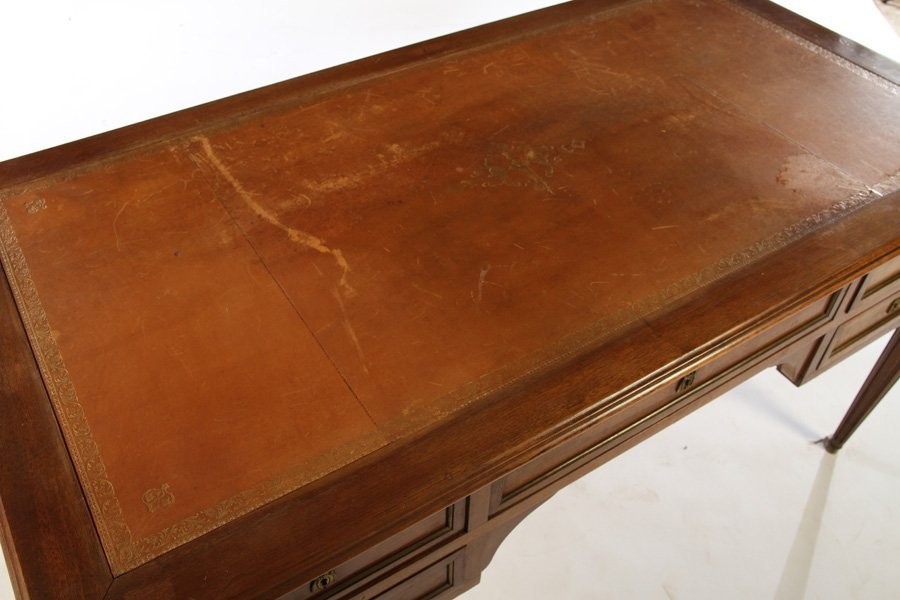 LOUIS XVI DESK INSET LEATHER TOP 5 DRAWERS - 3