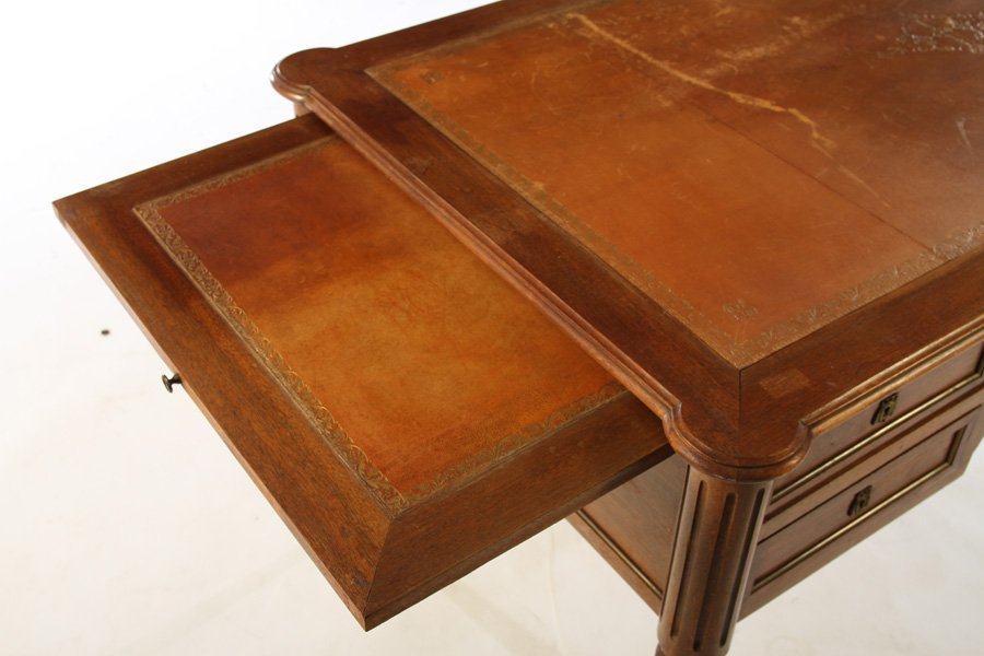 LOUIS XVI DESK INSET LEATHER TOP 5 DRAWERS - 4