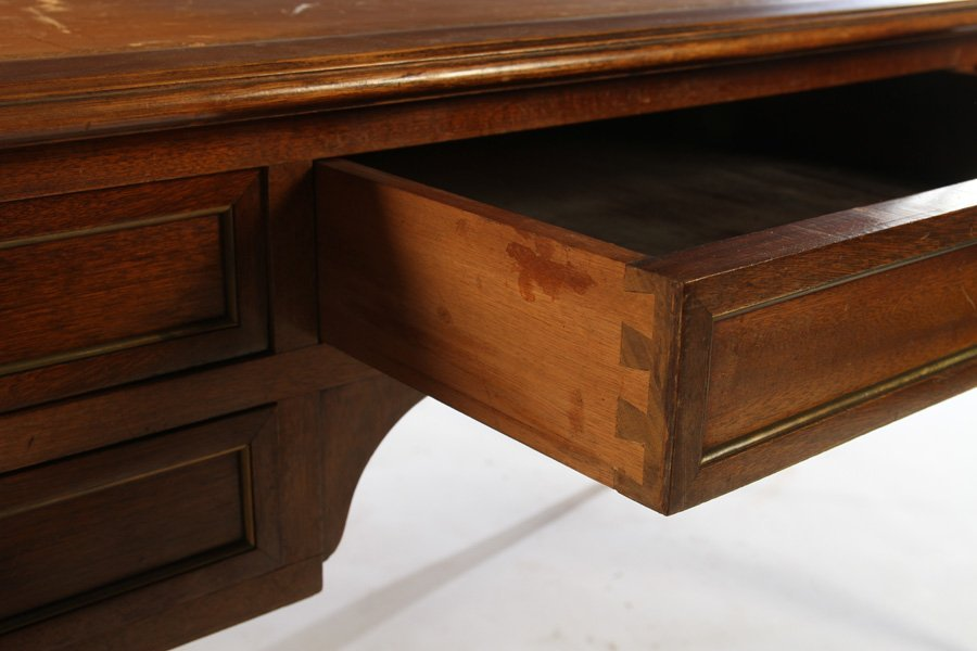 LOUIS XVI DESK INSET LEATHER TOP 5 DRAWERS - 5