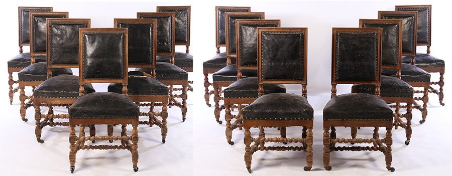 SET 15 FRENCH CARVED WALNUT DINING CHAIRS 1900