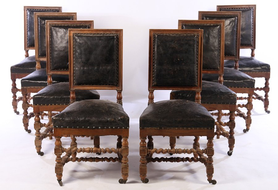SET 15 FRENCH CARVED WALNUT DINING CHAIRS 1900 - 2