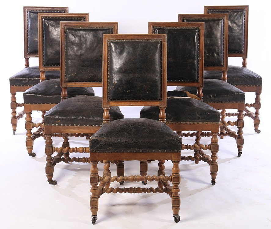 SET 15 FRENCH CARVED WALNUT DINING CHAIRS 1900 - 3