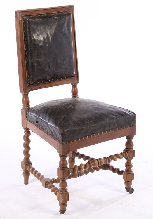 SET 15 FRENCH CARVED WALNUT DINING CHAIRS 1900 - 4
