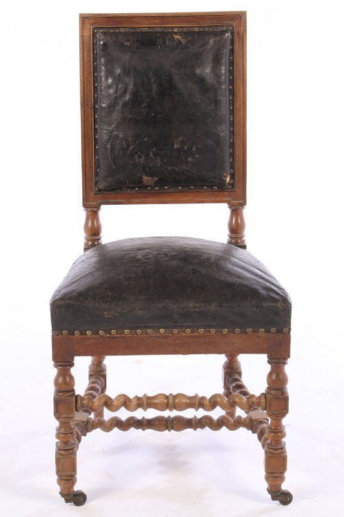 SET 15 FRENCH CARVED WALNUT DINING CHAIRS 1900 - 5