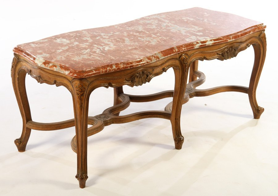 FRENCH LOUIS XV COFFEE TABLE MARBLE TOP