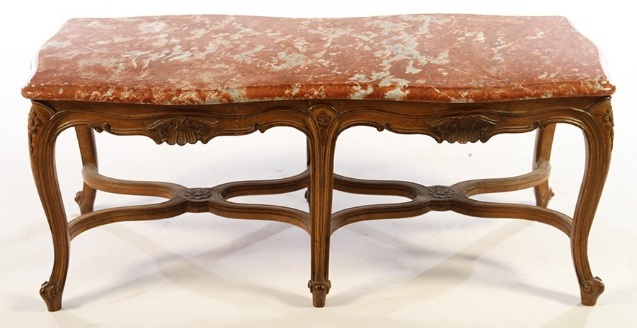 FRENCH LOUIS XV COFFEE TABLE MARBLE TOP - 2