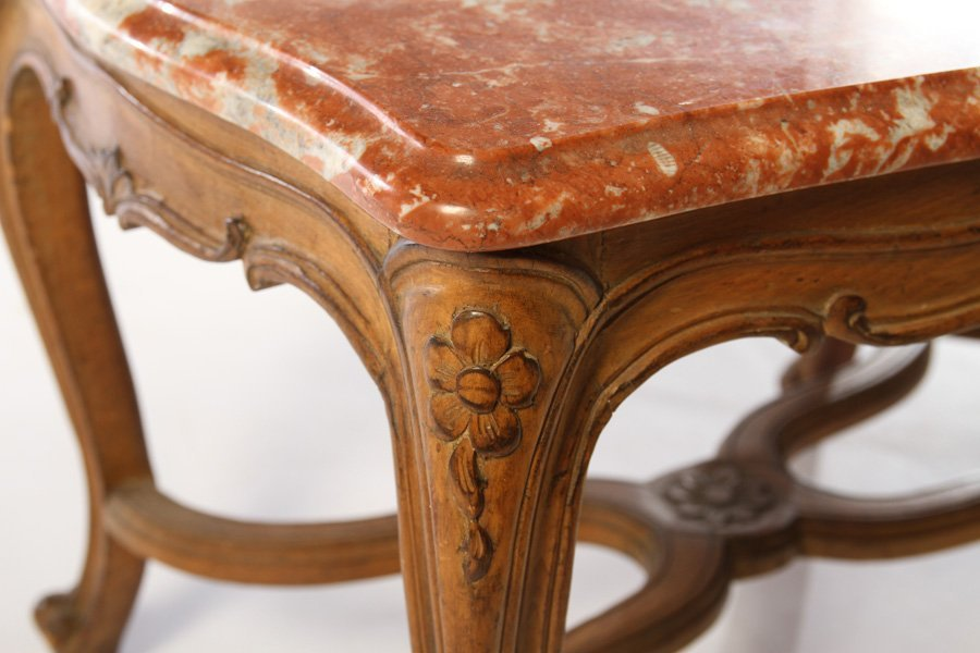 FRENCH LOUIS XV COFFEE TABLE MARBLE TOP - 4
