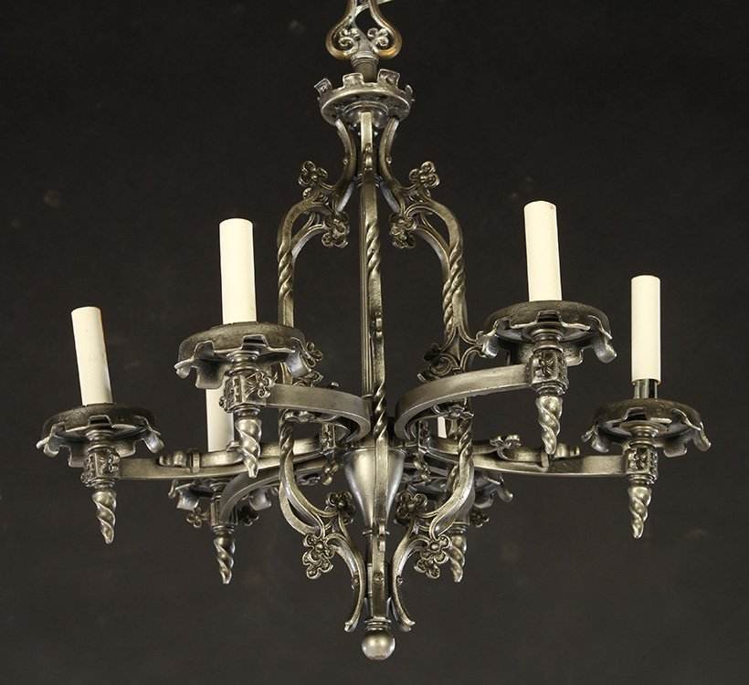 GOTHICH STYLE BRONZE CHANDELIER 6 CURVED ARMS