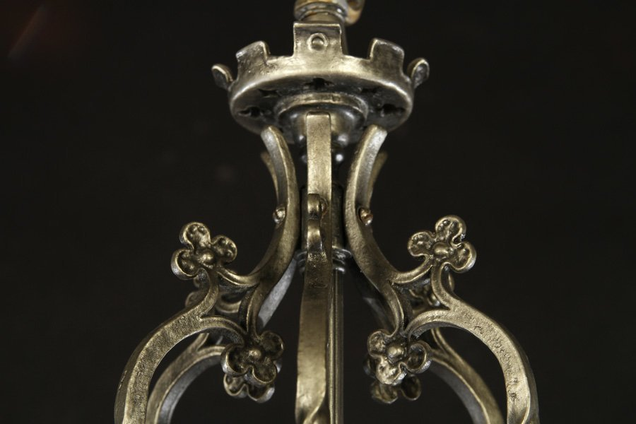 GOTHICH STYLE BRONZE CHANDELIER 6 CURVED ARMS - 2
