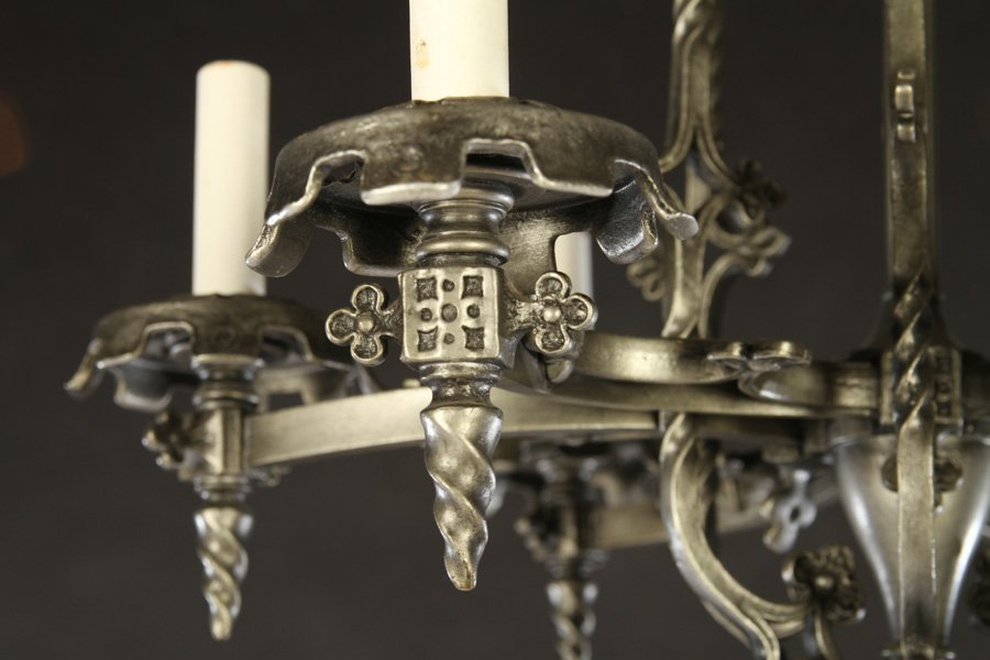 GOTHICH STYLE BRONZE CHANDELIER 6 CURVED ARMS - 3