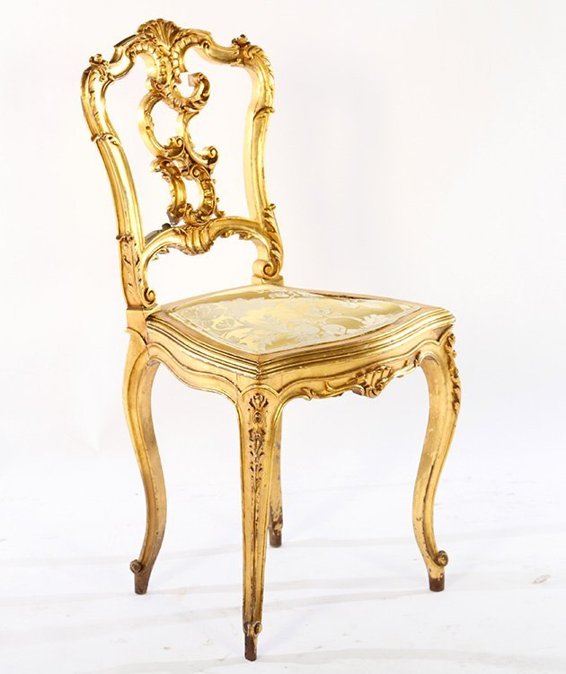 CONTINENTAL GILTWOOD CARVED SIDE CHAIR 1900