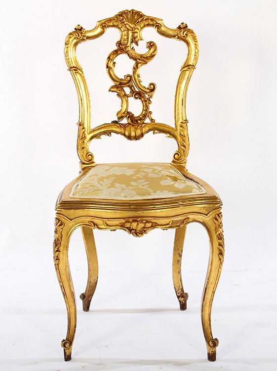 CONTINENTAL GILTWOOD CARVED SIDE CHAIR 1900 - 2