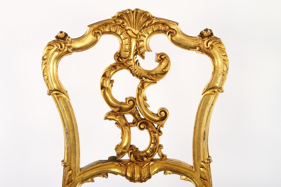 CONTINENTAL GILTWOOD CARVED SIDE CHAIR 1900 - 3