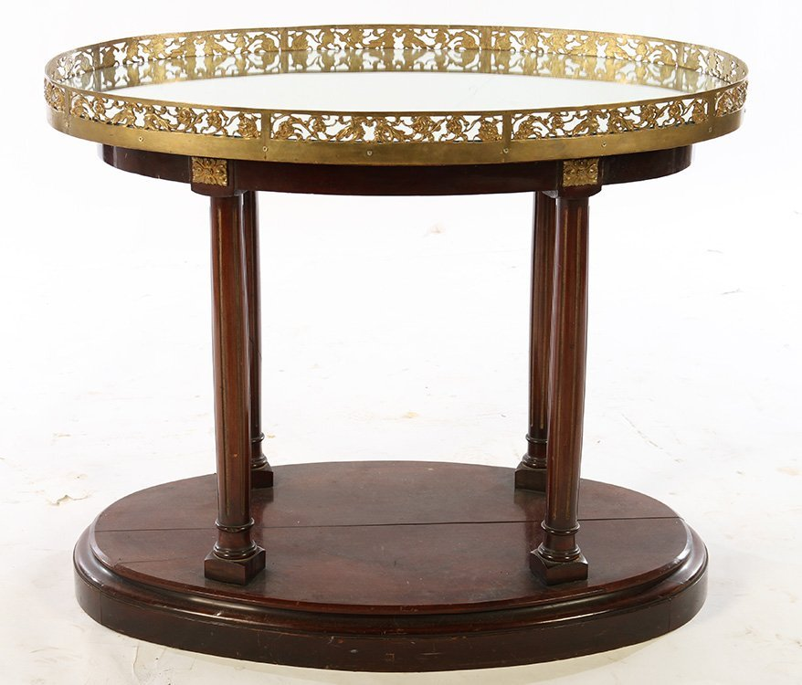 DIRECTOIRE CENTER TABLE BRONZE PLATEAU COLUMN LEG - 2