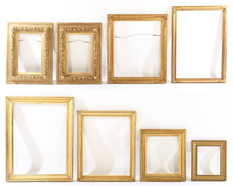 LOT OF EIGHT GILT WOOD FRAMES 19TH CENTURY