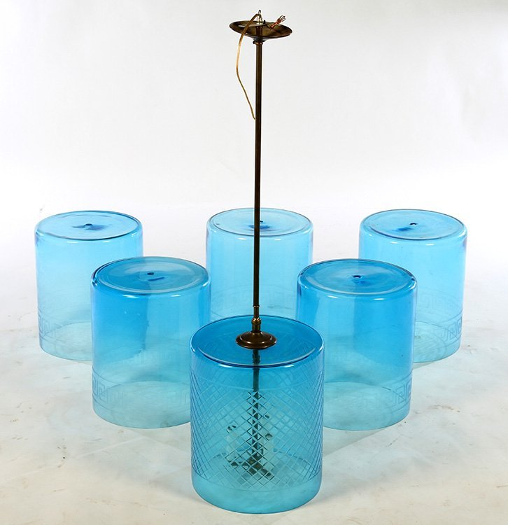 SIX CYLINDRICAL SEA BLUE GLASS HANGING LIGHTS