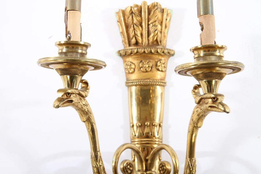SET 3 FRENCH BRASS EMPIRE 2 ARM WALL SCONCES - 3