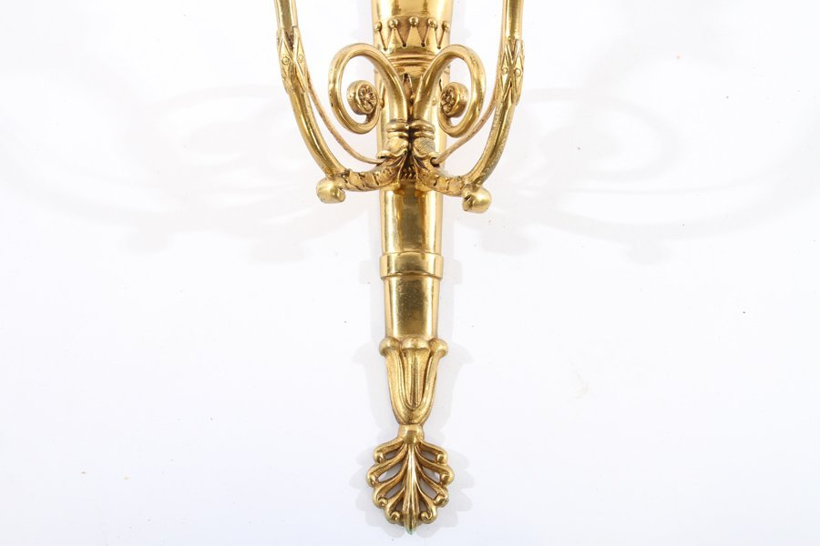 SET 3 FRENCH BRASS EMPIRE 2 ARM WALL SCONCES - 4
