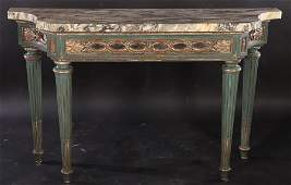 ITALIAN PAINTED SILVER GILT CONSOLE TABLE C1930