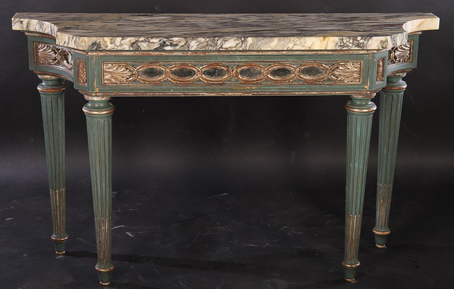 ITALIAN PAINTED SILVER GILT CONSOLE TABLE C.1930
