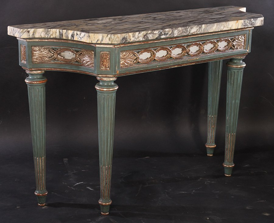 ITALIAN PAINTED SILVER GILT CONSOLE TABLE C.1930 - 2