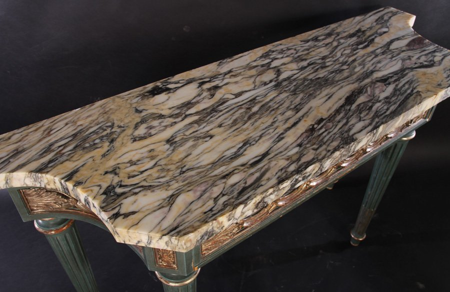ITALIAN PAINTED SILVER GILT CONSOLE TABLE C.1930 - 3