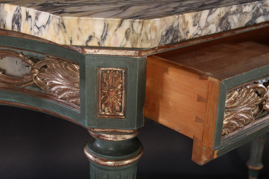 ITALIAN PAINTED SILVER GILT CONSOLE TABLE C.1930 - 4