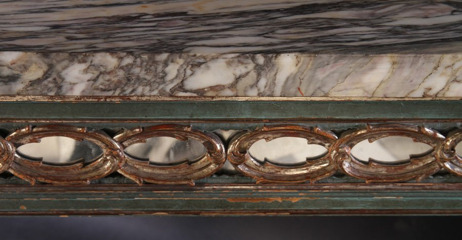 ITALIAN PAINTED SILVER GILT CONSOLE TABLE C.1930 - 5