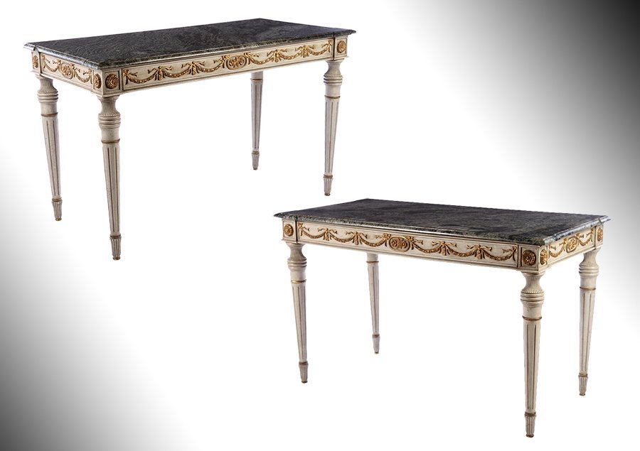PAIR LOUIS XVI CARVED PAINTED CONSOLES MARBLE TOP