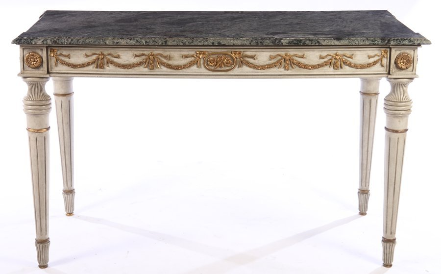 PAIR LOUIS XVI CARVED PAINTED CONSOLES MARBLE TOP - 4