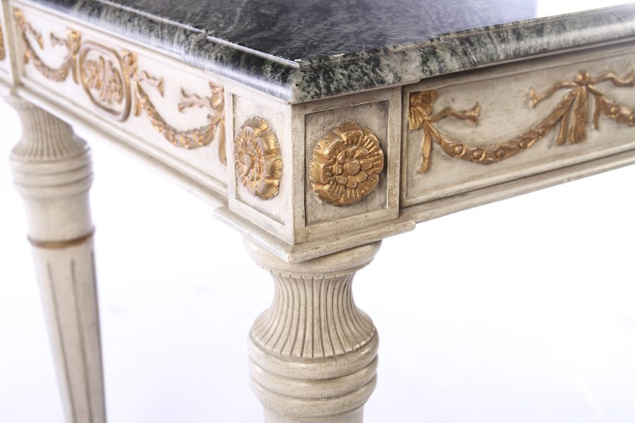 PAIR LOUIS XVI CARVED PAINTED CONSOLES MARBLE TOP - 6