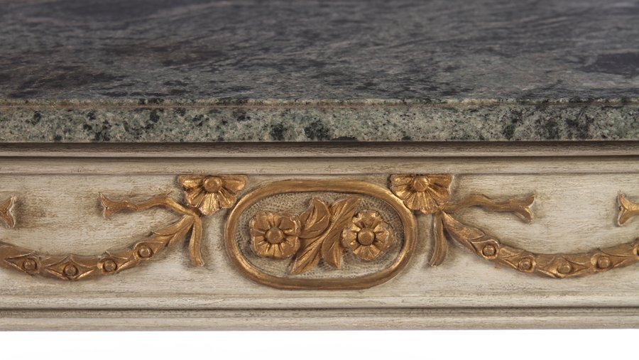PAIR LOUIS XVI CARVED PAINTED CONSOLES MARBLE TOP - 7