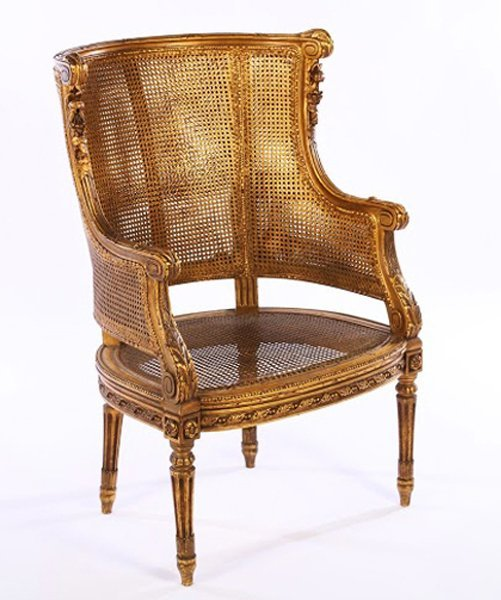 LOUIS XVI GILTWOOD CARVED PAINTED BERGERE 1930