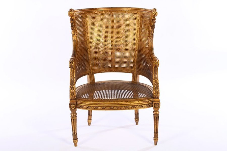 LOUIS XVI GILTWOOD CARVED PAINTED BERGERE 1930 - 2