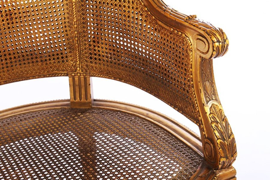 LOUIS XVI GILTWOOD CARVED PAINTED BERGERE 1930 - 4