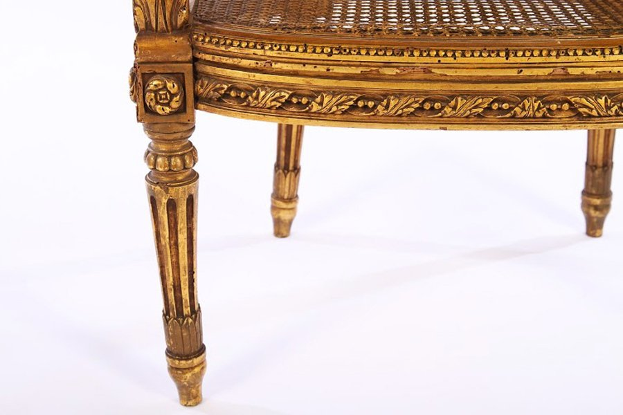 LOUIS XVI GILTWOOD CARVED PAINTED BERGERE 1930 - 5