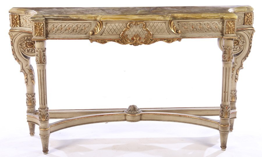 LOUIS XVI GILTWOOD PAINTED CONSOLE TABLE 1920